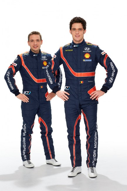 Hyundai Shell World Rally Team drivers Thierry Neuville (L) and Nicolas Gilsoul